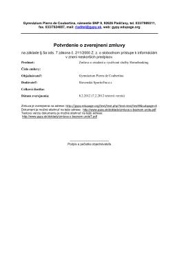 Potvrdenie o zverejnení zmluvy - Gymnázium Pierra de Coubertina