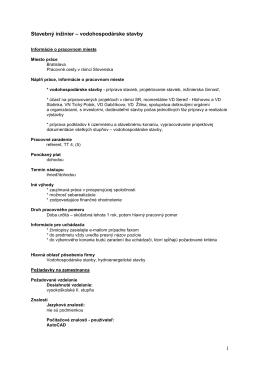 vodohospodárske stavby - Vodohospodárska výstavba, š.p.
