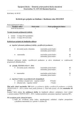 Kritériá pre prijatie - Spojená škola, Kremnička 10, Banská Bystrica