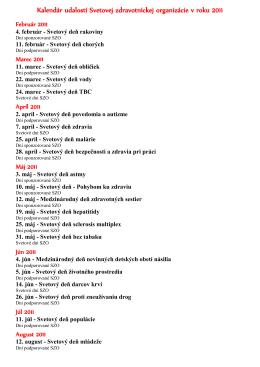 Kalendár udalostí Svetovej zdravotníckej organizácie v roku 2011