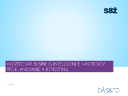 využitie sap business intelligence nástrojov pre planovanie a