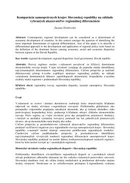 Komparácia samosprávnych krajov Slovenskej republiky na základe
