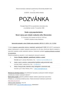 Stiahnuť pozvánku (PDF) - Rada slovenských vedeckých spoločností