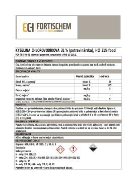 Kyselinaleina chlorovidíková- potravinárska, 31%