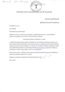 Prasnicky Anton 013 56 Hvozdnica Farsky urad Stiavnik Spravca