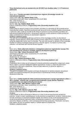 Témy dizertačných prác pre akademický rok 2012/2013 pre študijný