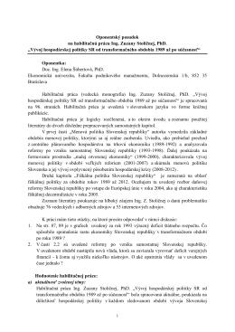 Oponentský posudok na habilitačnú prácu Ing. Zuzany Stoličnej, PhD.