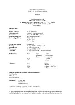 Medzinárodný pretek - CACIT - Memoriál J. Lisoňa + 2.kvalifikačný…