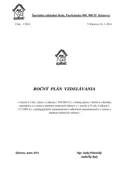 Plán kontinuálneho vzdelávania - Špeciálna základná škola Klenovec