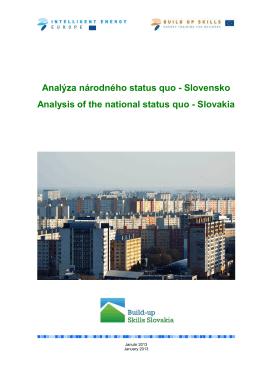 Analýza národného status quo - Slovensko Analysis of the national