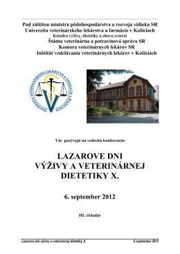 Lazarove dni výživy a dietetiky - Komora veterinárnych lekárov SR
