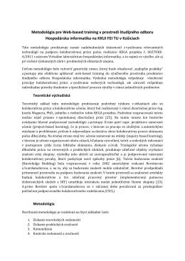 Metodológia pre Web-based training v prostredí študijného odboru