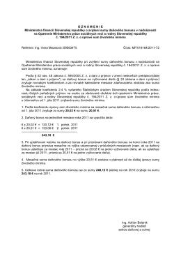OZN Á MENIE Ministerstva financií Slovenskej republiky o zvýšení