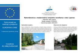 Rekonštrukcia a modernizácia verejného osvetlenia v obci Lipovec