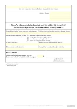 Žiadosť o vydanie matričného dokladu (rodný list, sobášny list