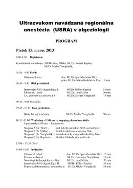 Ultrazvukom navádzaná regionálna anestézia (USRA) v algeziológii