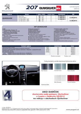 Špecifikáciu Peugeot 207 Quiksilver v slovenskom jazyku z roku