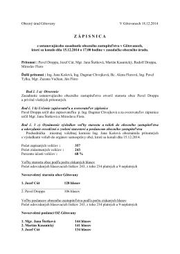 Zápisnica z ustanovujúceho zasadnutia OZ zverejnené 22.12.2014