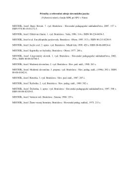 Výberová rešerš k téme referenčných zdrojov slovenského jazyka z