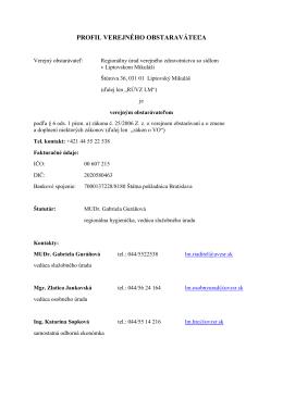 profil verejného obstaraváteľa - RÚVZ so sídlom v Liptovskom Mikuláši