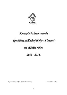 Koncepčný zámer rozvoja Špeciálnej základnej školy v Klenovci na