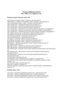 Zoznam publikačnej činnosti Doc. PhDr. Eva Gajdošová, CSc.