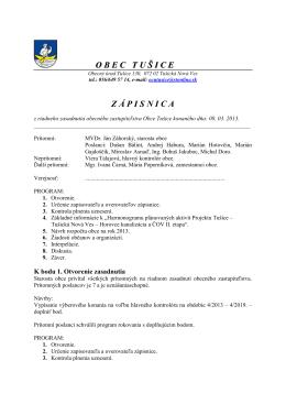 Zápisnica zo zasadnutia obecného zastupiteľstva: 08. 03. 2013