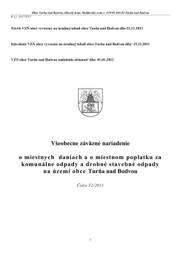 Všeobecne záväzné nariadenie o miestnych daniach a o miestnom