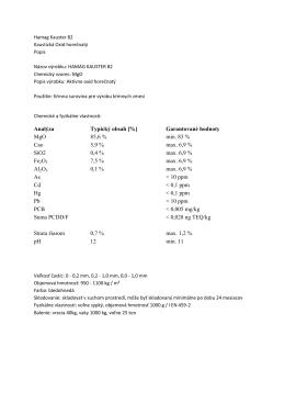 Analýza Typický obsah [%] Garantované hodnoty MgO