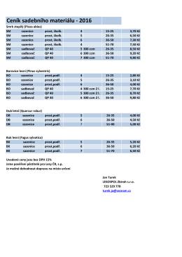 Ceník sadebního materiálu - 2016