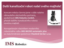 Předání nového kanalizačního robota IMS Micro Automatic Plus