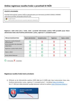 Online registrace nového hráče v prostředí IS FAČR