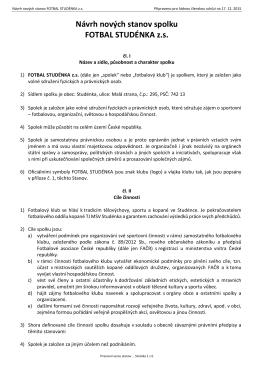 Návrh nových stanov spolku FOTBAL STUDÉNKA z.s.
