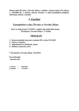 Pozvání na zasedání ZO 2015 srpen