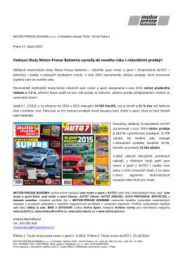 Vedoucí tituly Motor-Presse Bohemia vyrazily do nového roku s