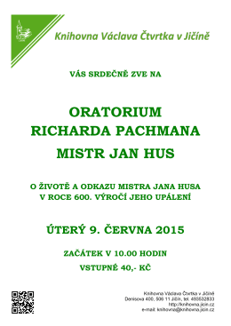 ORATORIUM RICHARDA PACHMANA MISTR JAN HUS