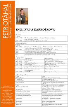 ING. IVANA KARKOŠKOVÁ