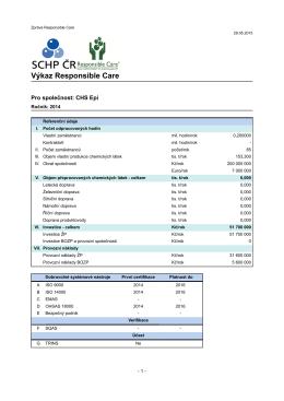 Výkaz Indikátorů RC 2014 - CHS Epi, a.s.
