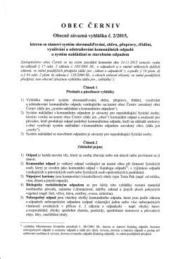 Nová vyhláška o odpadech vydaná dne 24.11.2015