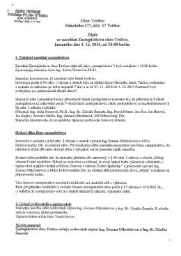 zápis ze zasedání 4.12.2014