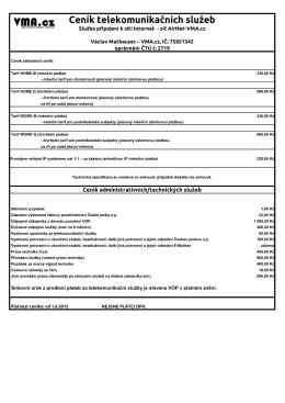Ceník telekomunikačních služeb