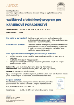 vzdělávací a tréninkový program pro KARIÉROVÉ