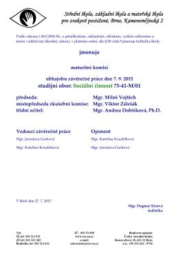 Jmenování - Střední škola, základní škola a mateřská škola pro