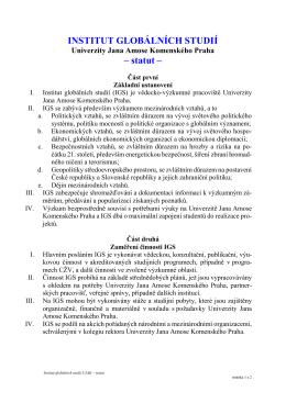 INSTITUT GLOBÁLNÍCH STUDIÍ – statut –