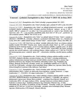 Usnesení z jednání Zastupitelstva obce Nekoř V/2015