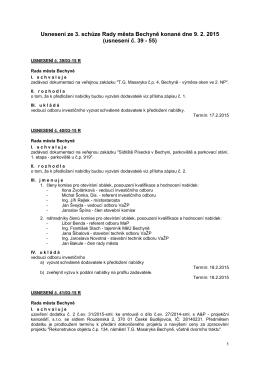 Usnesení z 3. jednání RM dne 9.2.2015