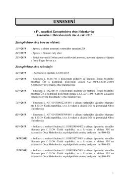 Usnesení IV. zasedání Zastupitelstva obce Halenkovice