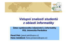 Vstupní znalosti studentů z oblasti informatiky