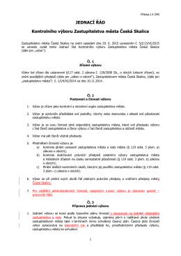 JEDNACÍ ŘÁD Kontrolního výboru Zastupitelstva města Česká Skalice