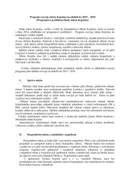 Program rozvoje města Kojetína na období let 2015 – 2018